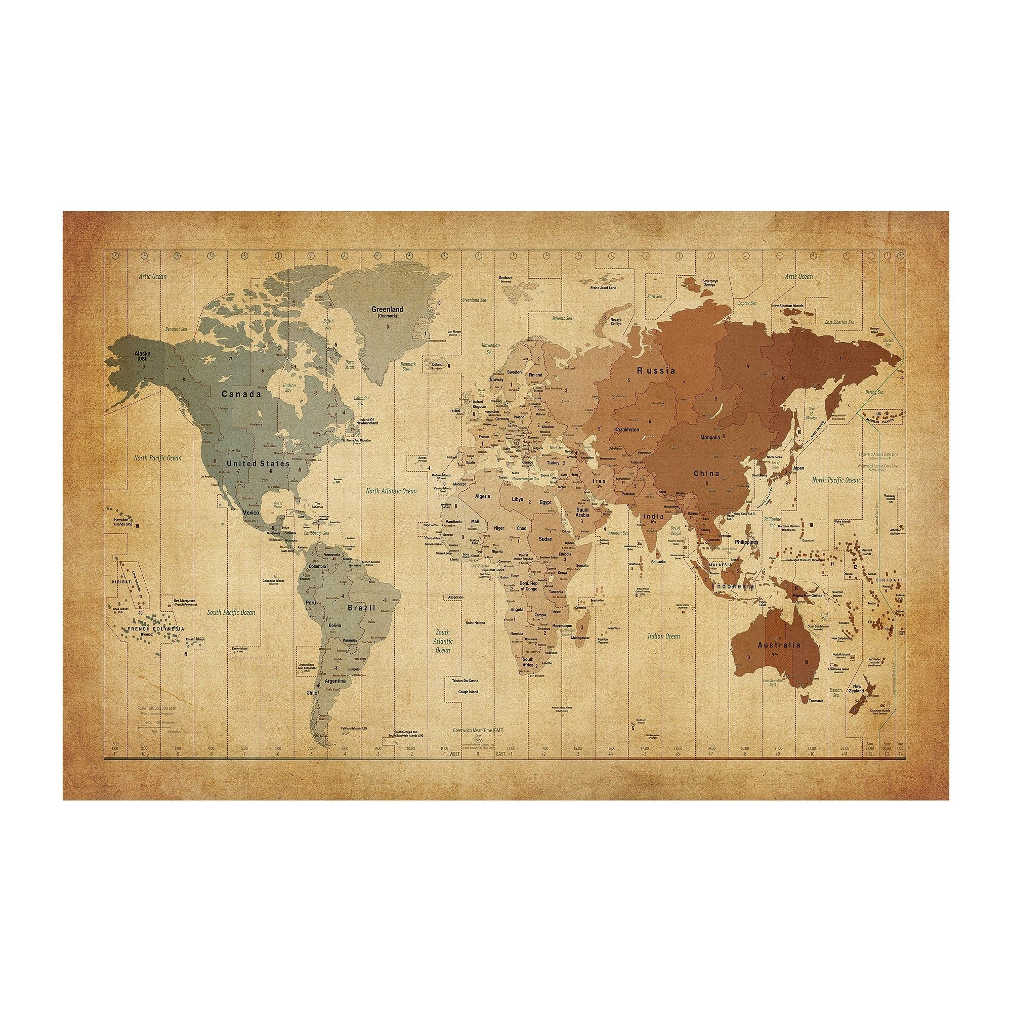 Time Zones Map of the World\' by Michael Tompsett Ready to Hang ...