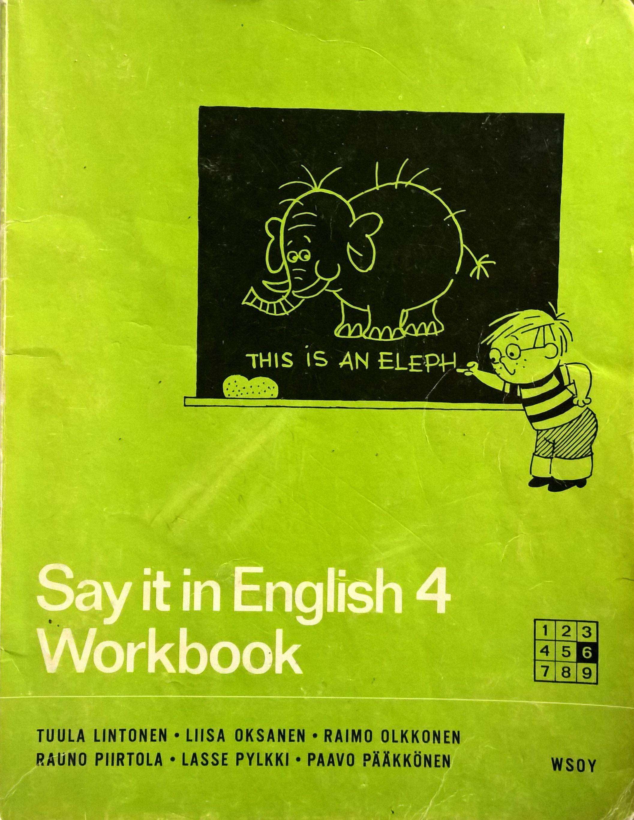 Englannin kirjan tehtäväkirja.
