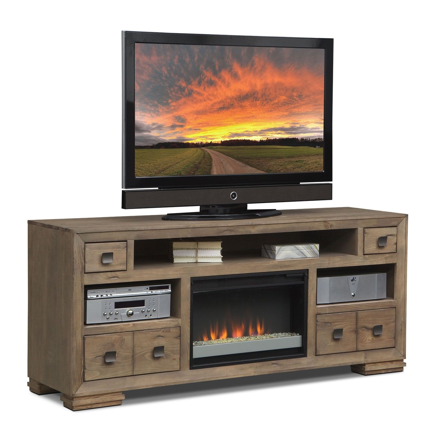 brick electric piece search fireplace media firebox home centre decor entertainment tv the accent opening center log fireplaces with furniture and camden