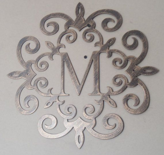 Family Initial, Monogram Inside A Metal Scroll With ANY Letter, Wall Decor,  Metal Art Color: Black With A Coppery Antique Look Finish At Checkout