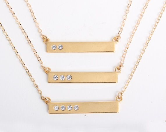 Gold Bar Necklace With Diamond Crystals Personalized Birthstone Necklace Engraved With Blessed Mothers Necklace Custom Gift For Mom Birthstone Bar Necklace Diamond Bar Necklace Mothers Necklace