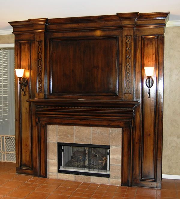 Cabinets And Fireplace Surrounds: Stained+wood+country+fireplace+design