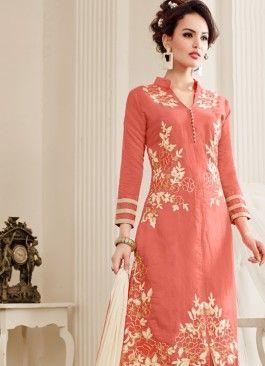 Marvelous Peach & Beige Coloured Unstitched #partywearsalwarkameezonlineshoppingIndia