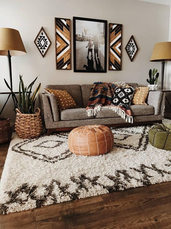 Modern Aztec style living room black white tan colour palette #aztec