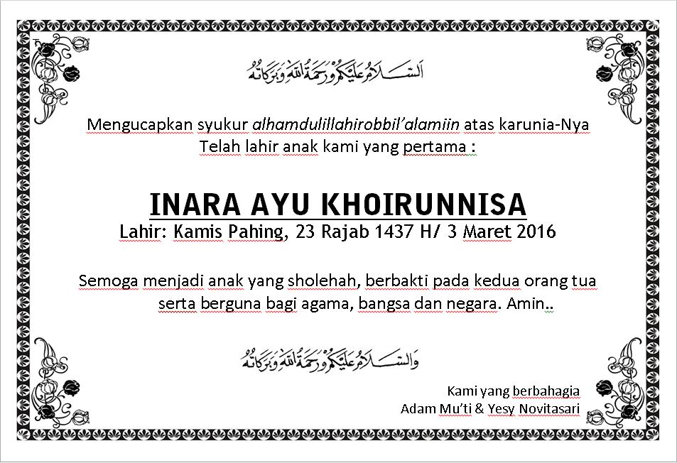 Contoh Surat Aqiqah