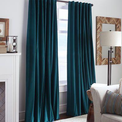 Sheridan Velvet Curtain Ink Blue Velvet Curtains Curtains Living Room Living Room Window Decor