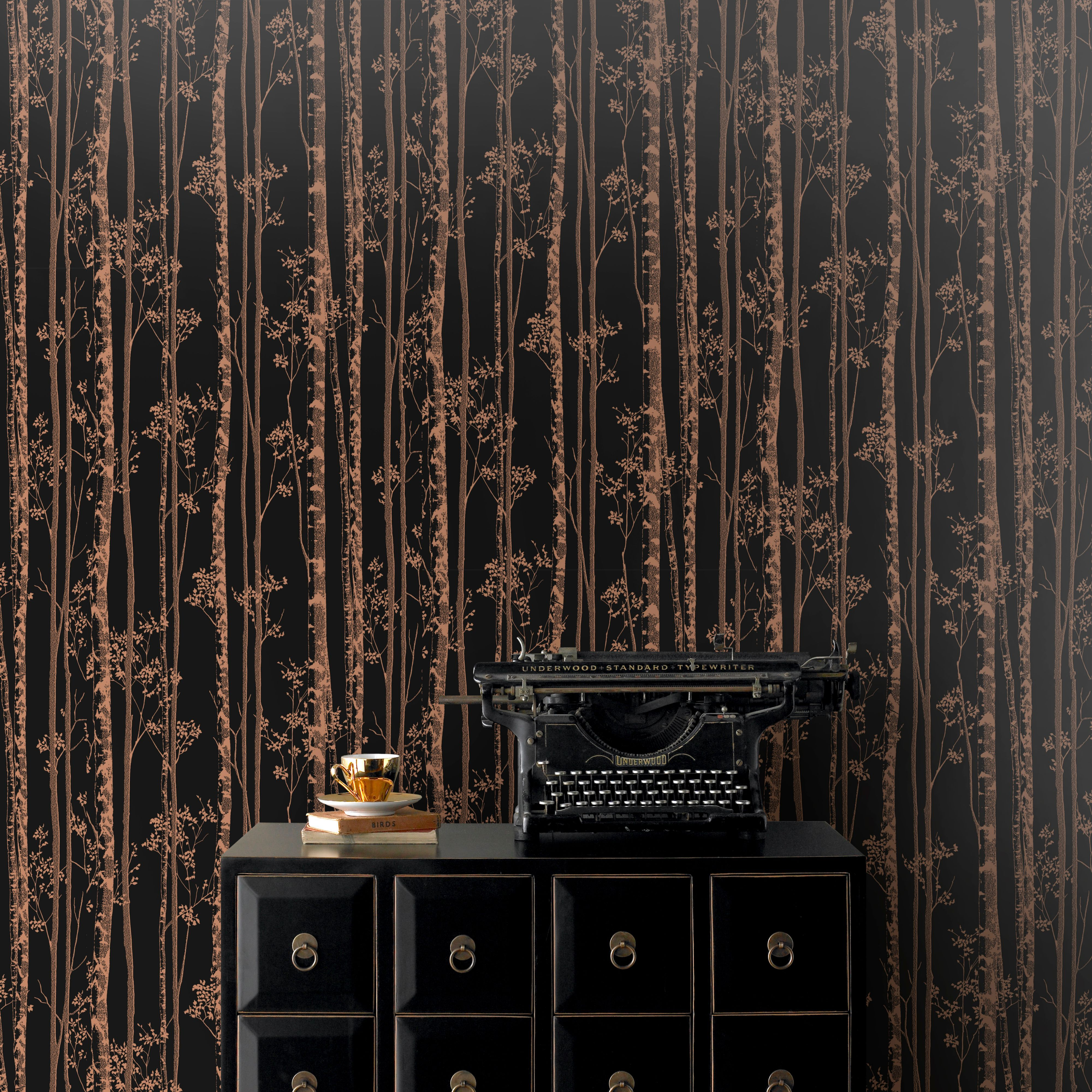 Pure Black & copper Linden Metallic effect Wallpaper