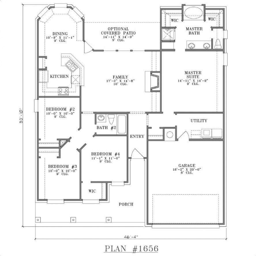 Simple two bedrooms house plans for small home spacious for Small 4 bedroom floor plans