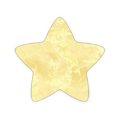 Yellow Elegance Golden Subtle Ochre Sunny Summer Star Sticker - floral gifts flower flowers gift ideas