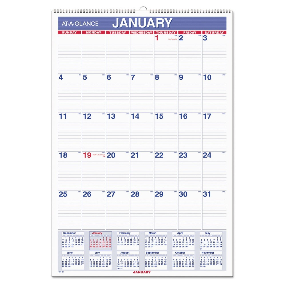 At-A-Glance Monthly Wall Calendar with Ruled Daily Blocks, 15 1/2 x 22 3/4, White, 2017