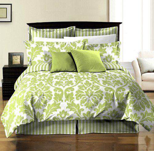 8pcs Soft Microfiber Reversible White Green Leaf Stripe Bed In A Bag Comforter W Sheet Set Queen Size Amaz Green Bedding Bed Comforter Sets Green Comforter