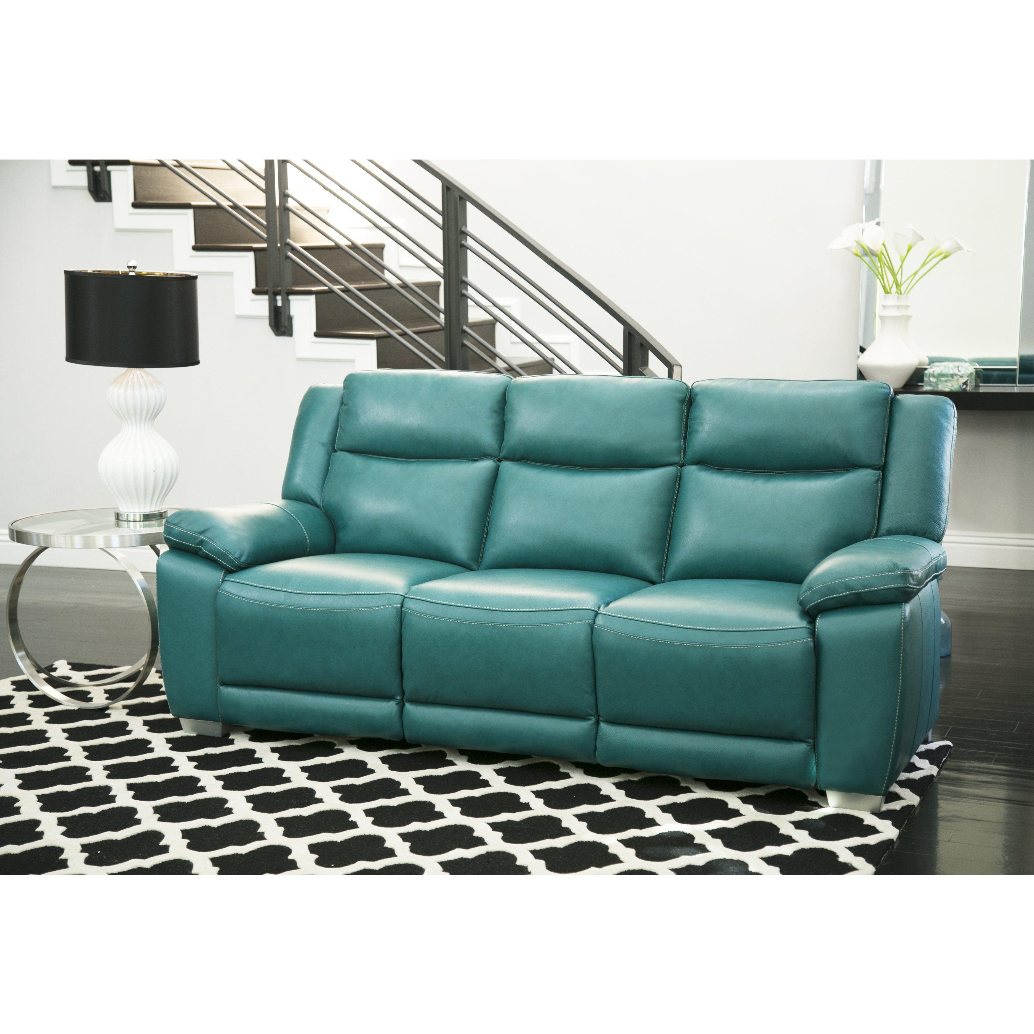 Best Abbyson Leyla Turquoise Top Grain Leather Push Back 640 x 480