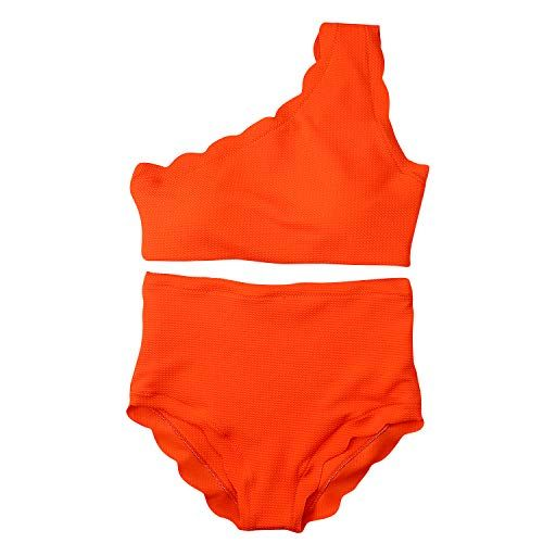 4cd05a7e7ff91 Women Vintage High Waisted Swimsuit Two Pieces Scalloped Trim One Shoulder  Bikini Bathing Suit Orange