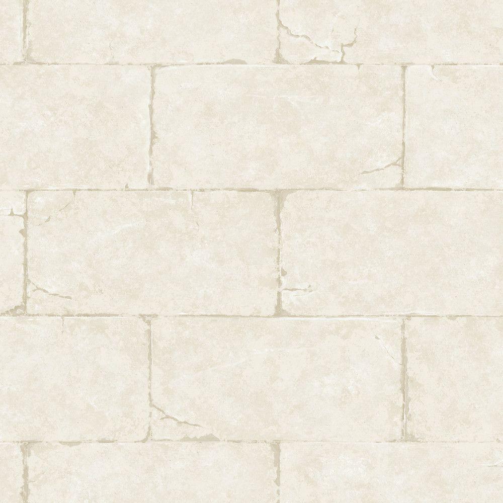 Fresco Sandstone Block Wall Trompe L'oeil Wallpaper