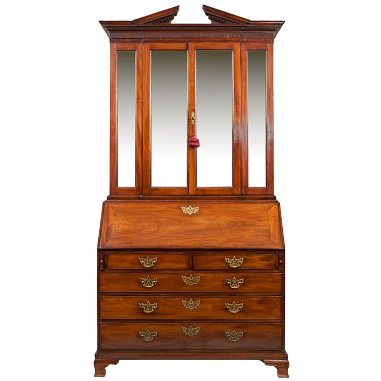 18th Century Georgian Mahogany Bureau Bookcase From The Newport House Ireland