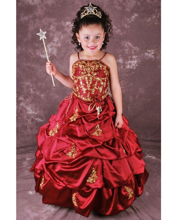 Gold Ball Gown Floor Length Girls