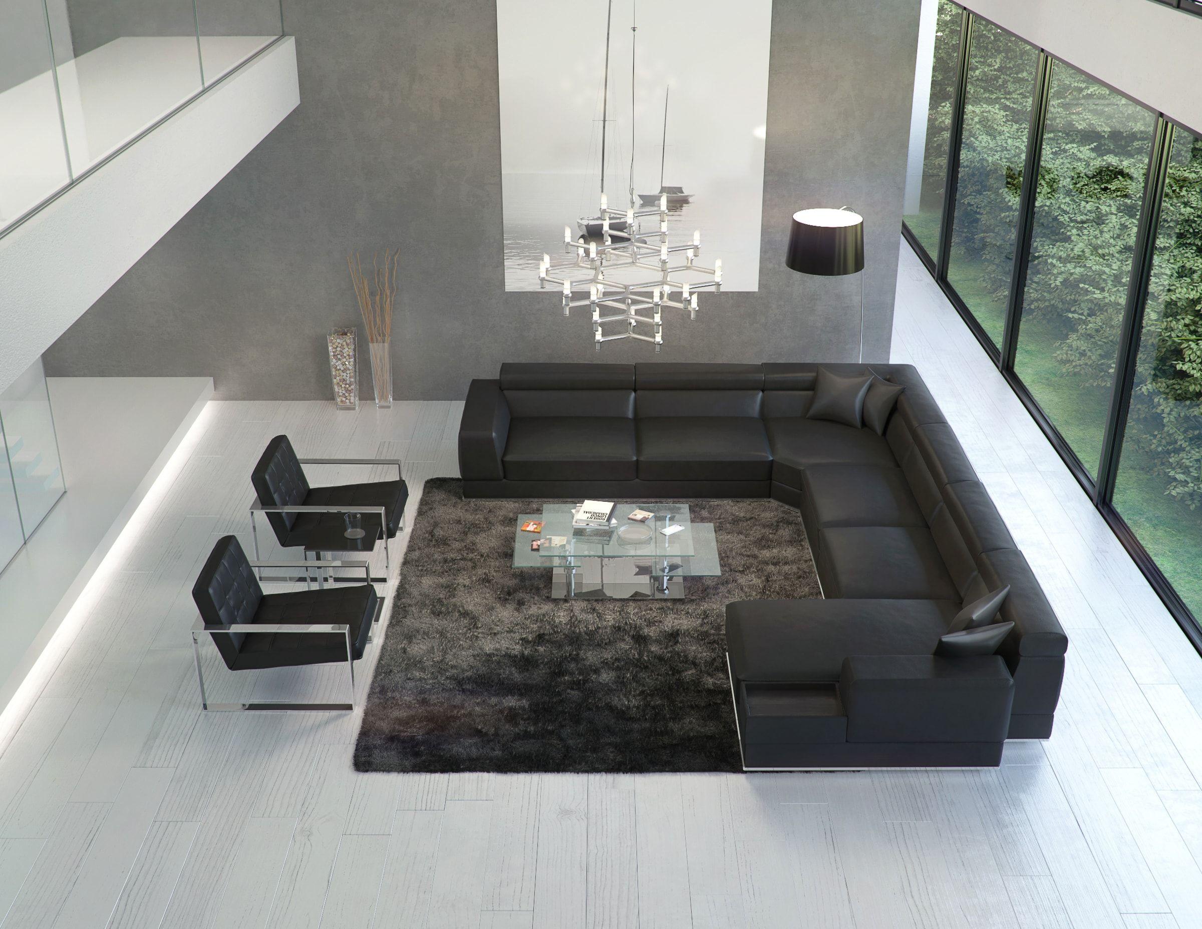 Outstanding Bergamo Extended Sectional Leather Modern Sofa Black House Evergreenethics Interior Chair Design Evergreenethicsorg
