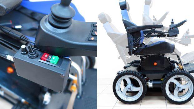Moderna sedia a rotelle per disabili PW 4x4 con quattro ruote motrici che permette di salire rampe di scale. Dispone di un doppio motore da 300W e da 1350W.