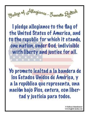 graphic about Pledge of Allegiance in Spanish Printable named Pledge of Allegiance - Spanish English Englishlandia