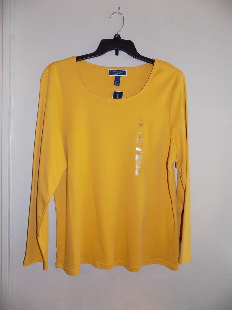 Nwt 2x Karen Scott Saffron Gold Long Sleeve 100 Cotton Soft Stretch