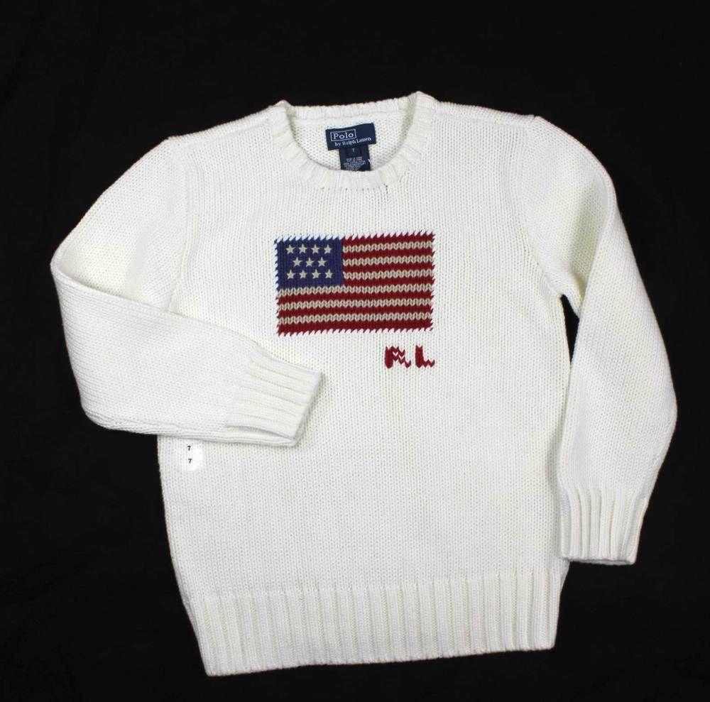 NWT POLO RALPH LAUREN Boy Kid 7 Sweater USA American Flag Beige Patriotic #RalphLauren #Pullover #DressyEverydayHoliday