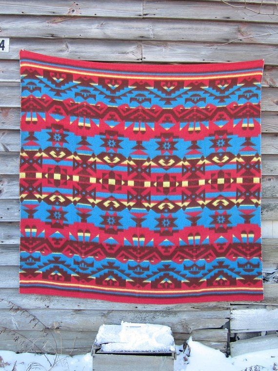 Vintage 50s Camp Blanket Red Blue Beacon Large Throw Cotton Rayon Camping In Ohio