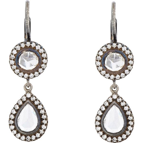 Zoe Diamond & Oxidized Platinum Double-Drop Earrings (738.955 RUB) ❤ liked on Polyvore featuring jewelry, earrings, colorless, pave earrings, pave drop earrings, round diamond earrings, bezel set diamond earrings and clear crystal earrings