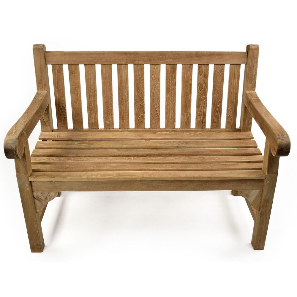 2 Seater Garden Bench Brown Teak Wood Outdoor Lawn Patio Balcony ...