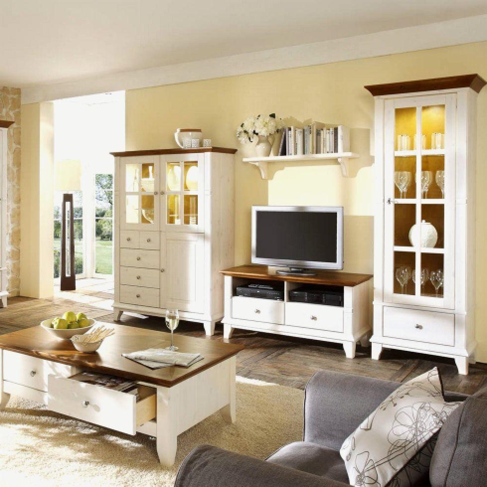 Wohnzimmer Weiß Braun Landhaus