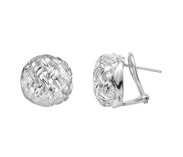 Slane Basket Weave Sterling Silver Button Earrings - Earrings - Jewelry