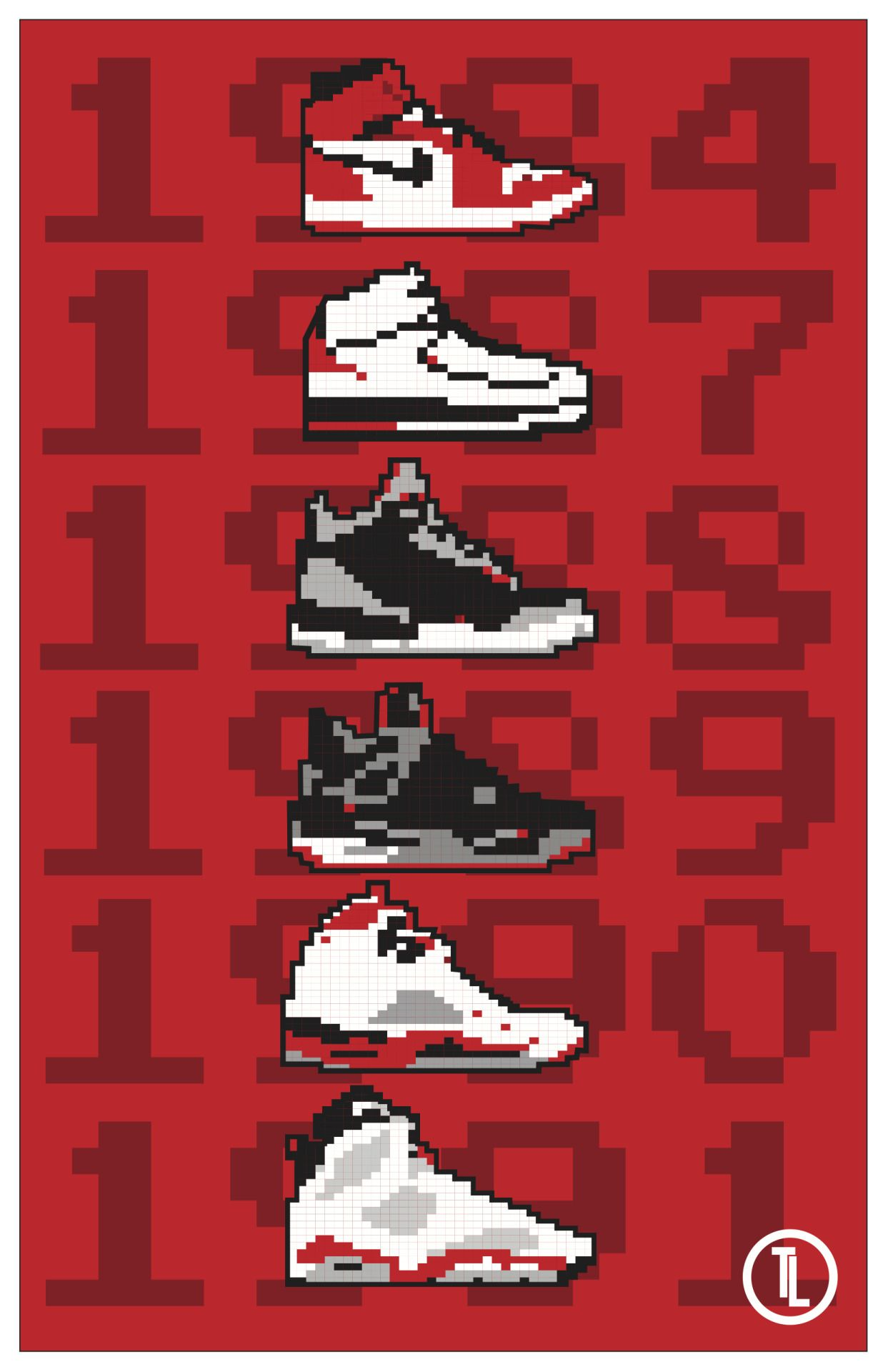 4db85cde61fc 8-Bit Jordan 1-6 Digital poster I designed. Prints available at https