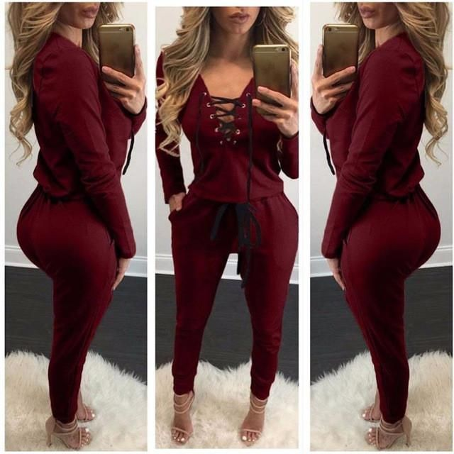 Autumn Women Overalls For Women Brand Bandage Jumper Rompers Jumpsuit Pants Full Sleeve Winter Playsuit Lace Up Track LJ5801U