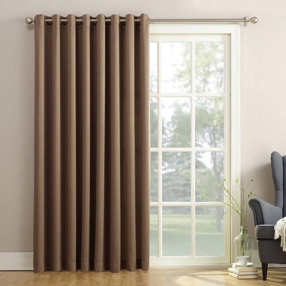 84 X100 Seymour Extra Wide Energy Efficient Room Darkening Patio Door Curtain Panel Mocha Sun Zero In 2020 Sliding Glass Door Curtains Door Coverings Patio Door Curtains