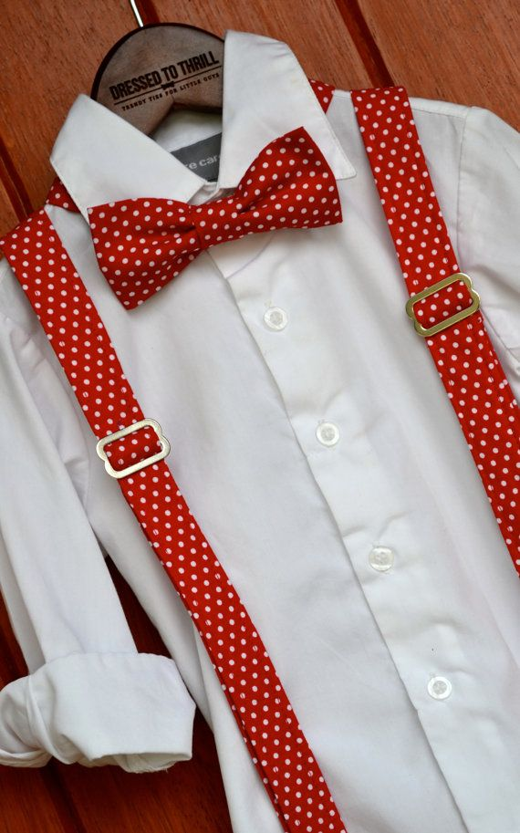 Red w// White Polka Dot Bow Tie And Suspender Matching Set Tuxedo Wedding Party