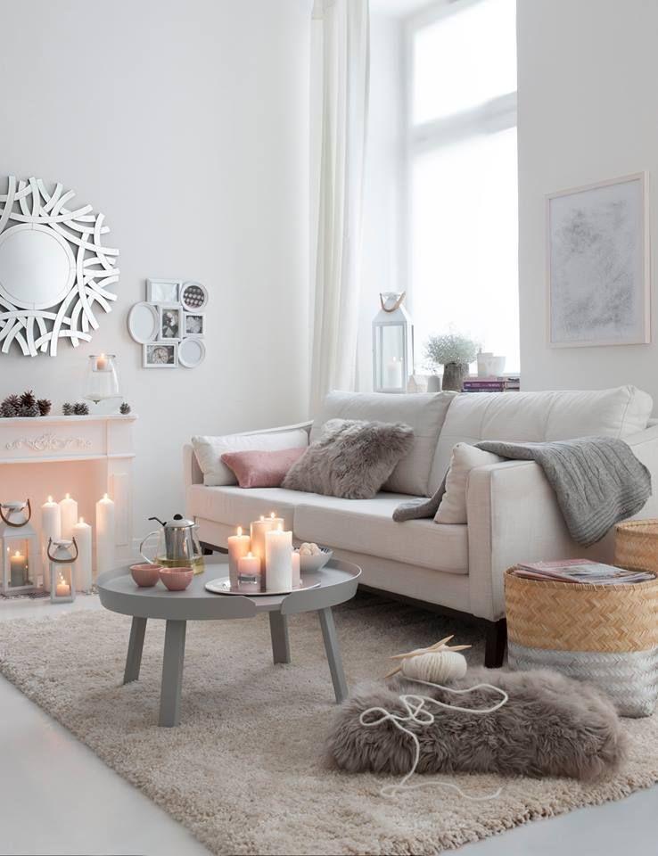 Inspiration d co pour le salon d coration blanche hygge cosy gris cocooning salon - Salon cosy gris ...