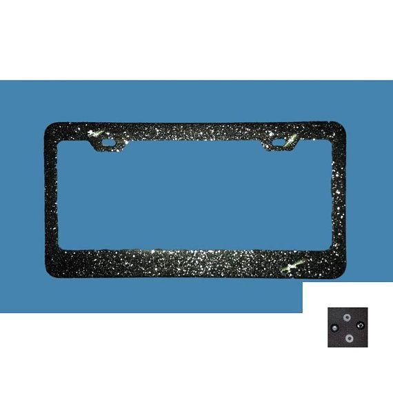 BEST SELLER silver GLITTER bling sparkly mega sparkle metal License Plate frame