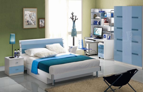 Modern Kids Bedroom Furniture In Blue Decorating Style Picture
