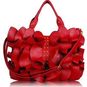 Designer Handbags Womens Red Ruffle Stud Tote Shoulder Handbag ...