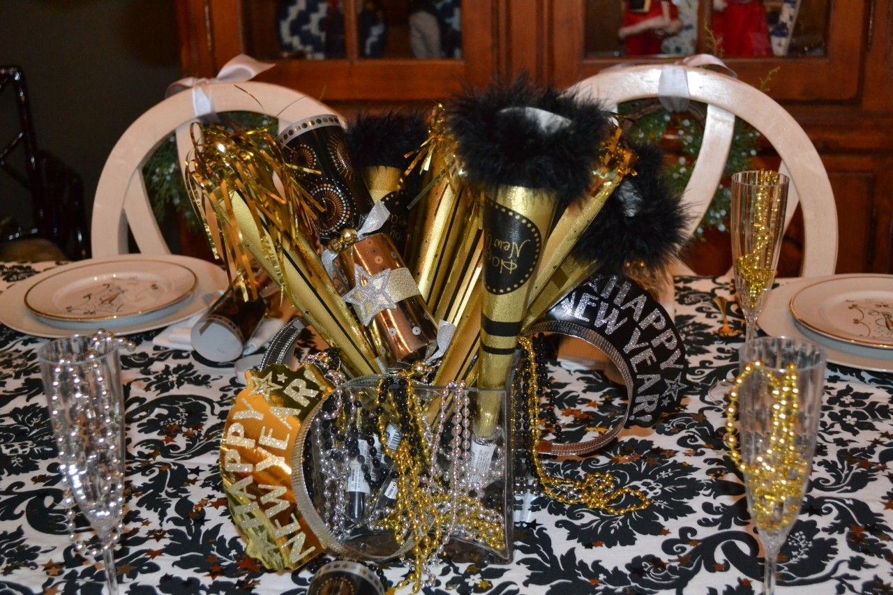 Dinner Party Favor Ideas Part - 28: Ideas, Amaze New Years Eve Party Decorations Ideas With Gold Black Trumpet  On White Dining
