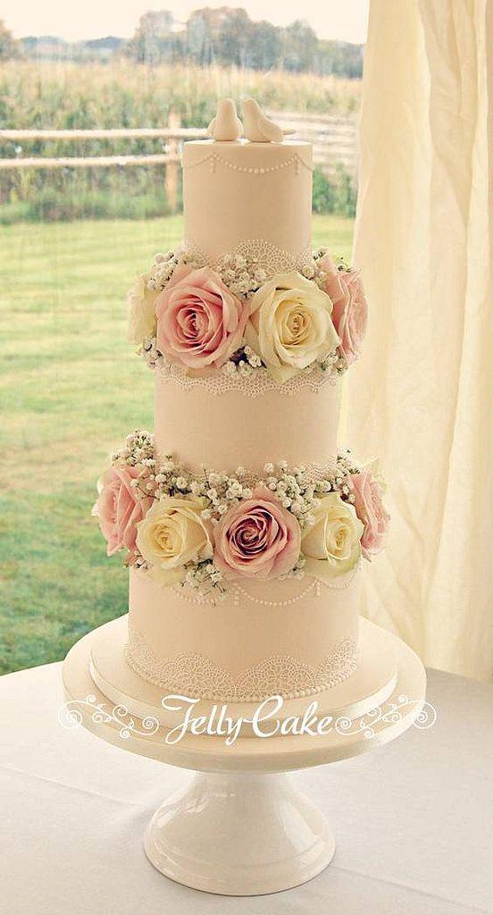 Love Birds & Lace Wedding Cake | Sugar lace, Gypsophila and Wedding cake