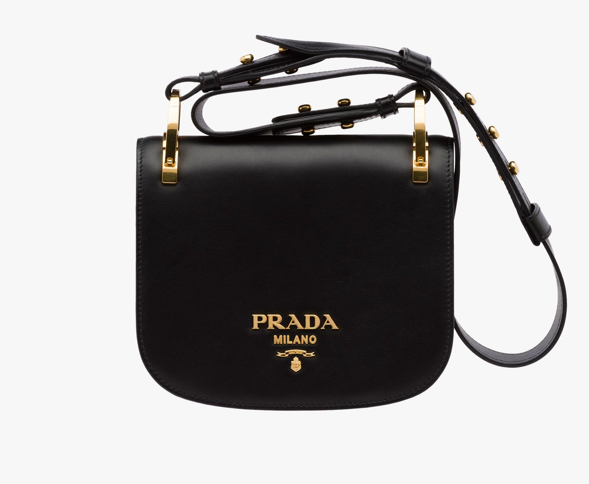 Prada Pionnière calf leather bag Detachable adjustable leather shoulder  strap embellished with metal studs Gold-