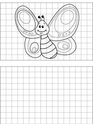 A Pretty Butterfly Flaps On A Backdrop Of Lined Graph Paper To