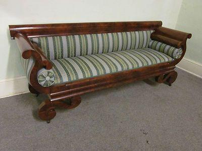 Antique Flame Mahogany Empire Sofa