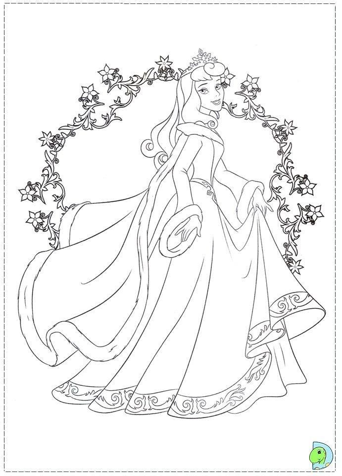 Christmas Aurora Princess Coloring Pages Disney Princess