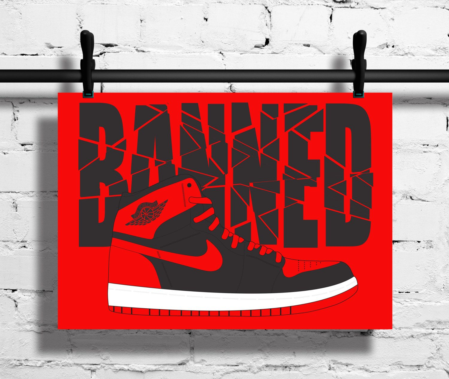new arrival a6cc0 b7210 Nike Air Jordan 1 Bred Poster – 1985 – Sneaker Print – A4 - A3 – Trainer –  Black – Red – Banned Word – Art – Sneaker - Basketball - Sport by ...