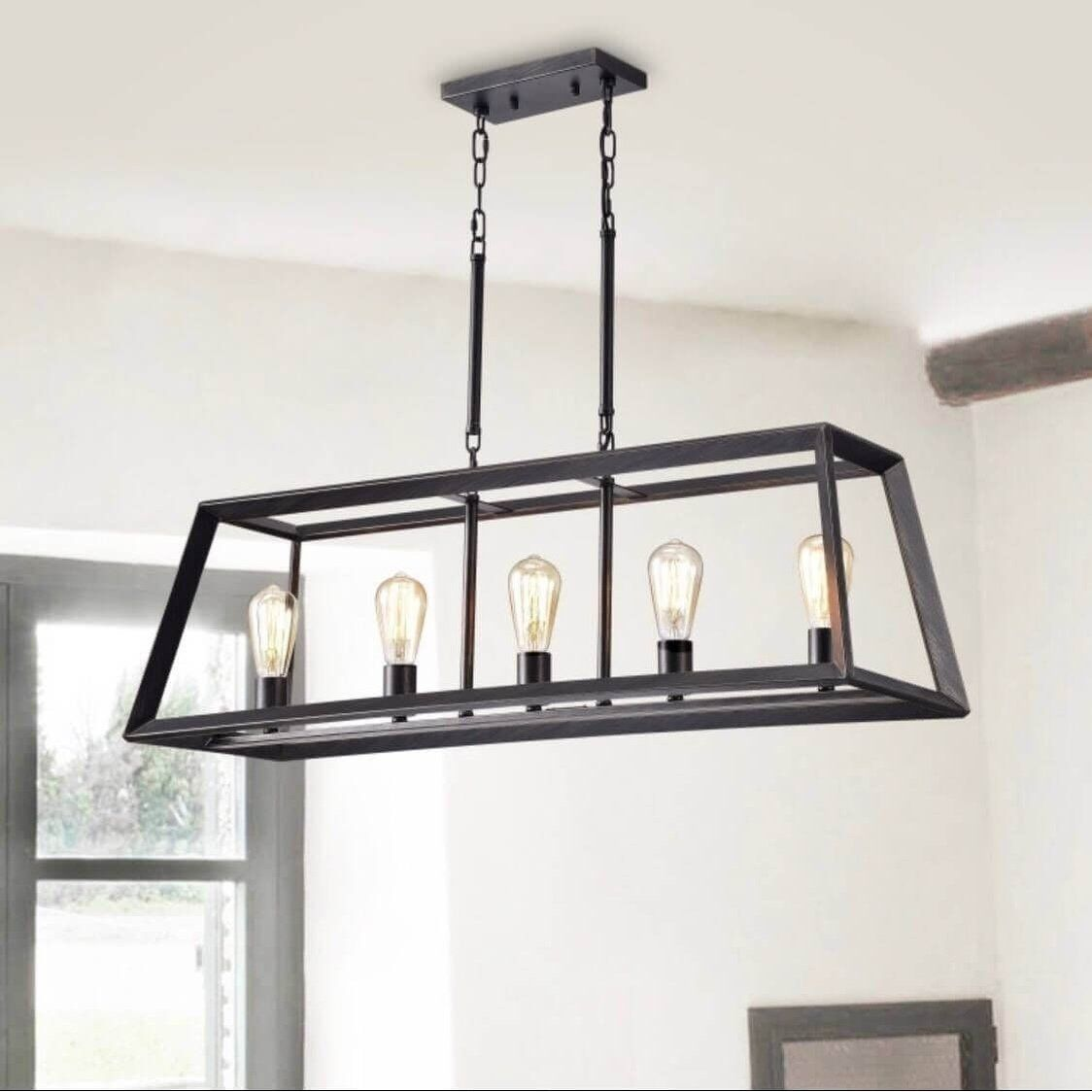 Ceiling Lights Kitchen Island Lighting Wrought Iron Accents Metal Chandelier