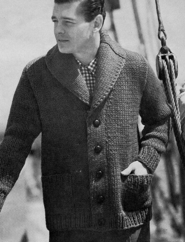 PATTERN 1950s Mens Cardigan Button Down Bulky Sweater Shawl Collar ...