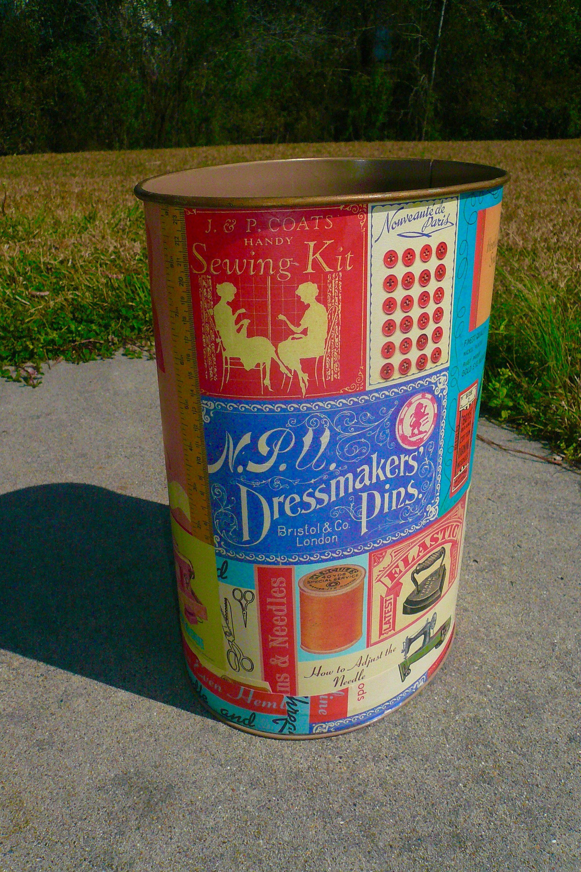Etsy shop vintage wastebasket handmade decoupage sewing room trash can home decor by vintagereinvented