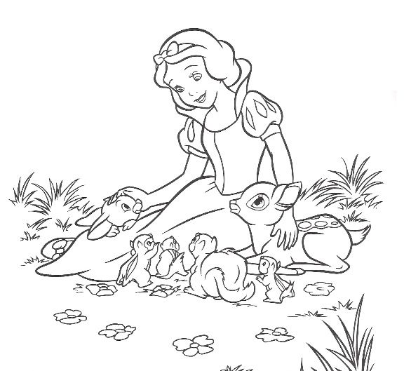 free walt disney snow white printable coloring pages