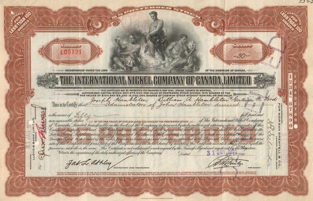 International nickel company of canada limited stock certificate international nickel company of canada limited stock certificate 1930s 1betcityfo Choice Image